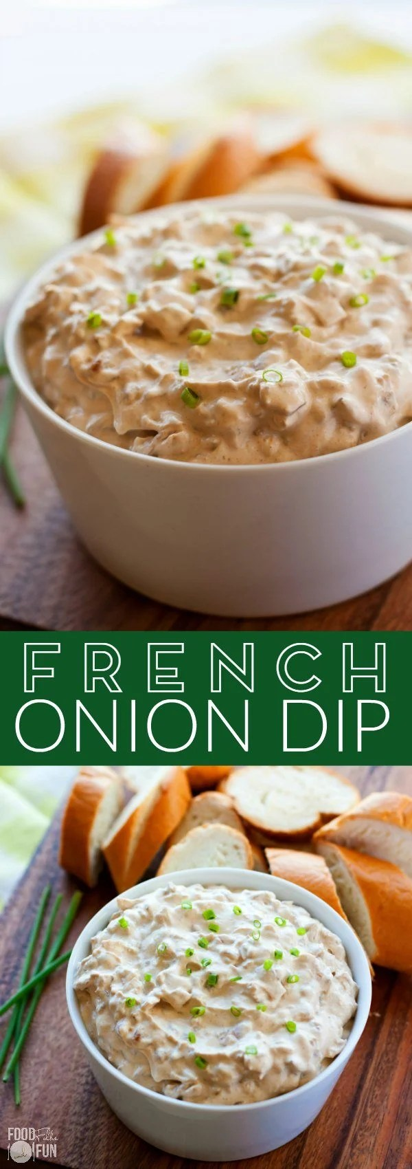 Picture collage of the French Onion Dip recipe