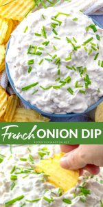 Picture collage of the onion dip in a white bowl and a chip dipping into the onion dip.