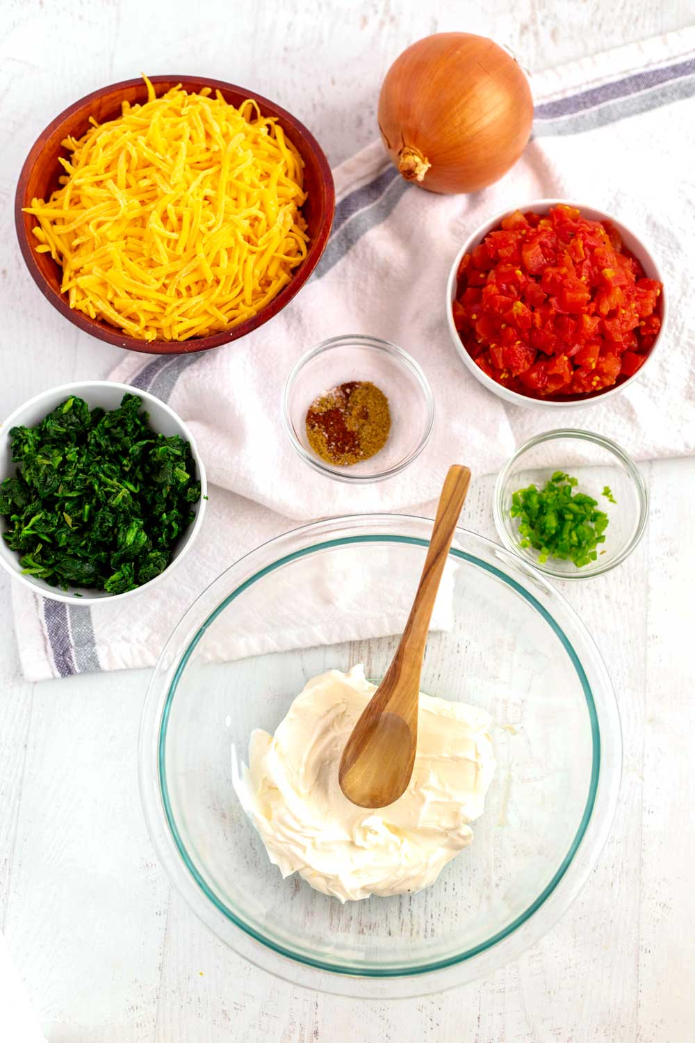 Ingredients for Mexican Spinach Dip
