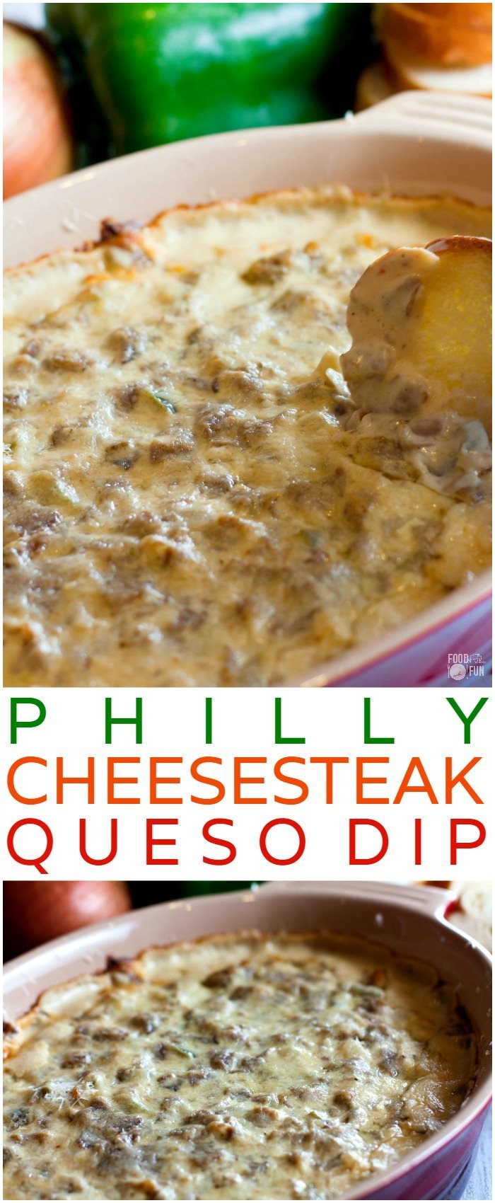 This hot, cheesy Philly Cheesesteak Dip is one of the best queso dips I have EVER had. It's easy to make and it's perfect for game day!