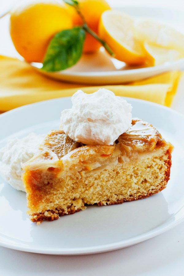 This Meyer Lemon Upside Down Cornmeal Cake is a beautiful, rustic cake that has an almost marmalade-like quality to it.