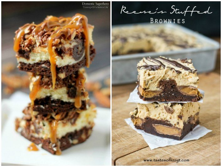 A collage of brownies with text overlay for Pinterest