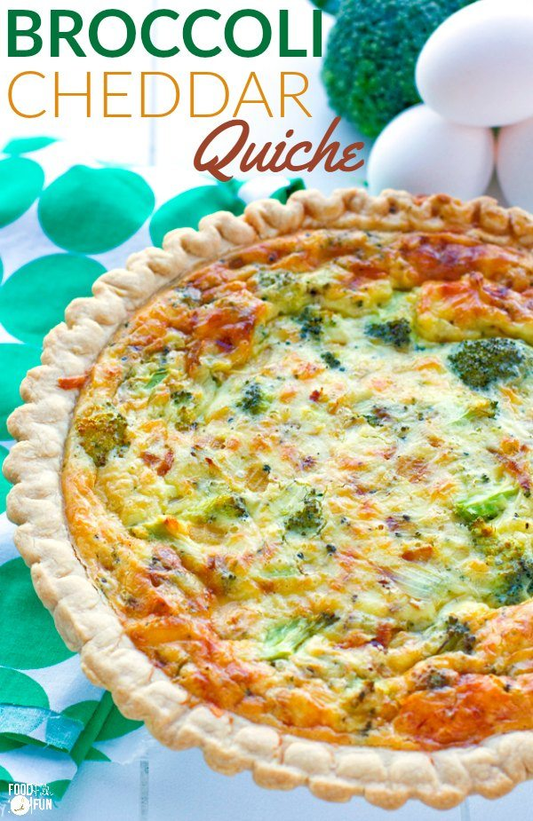 Quiche made with fresh broccoli.