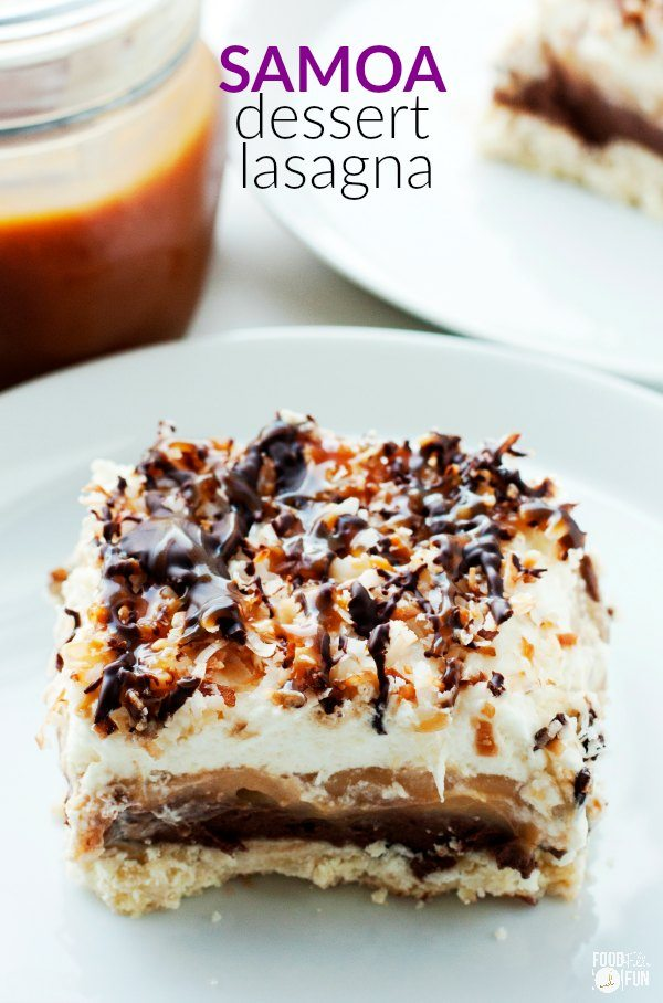 A slice of the dessert lasagna on a white dessert plate.