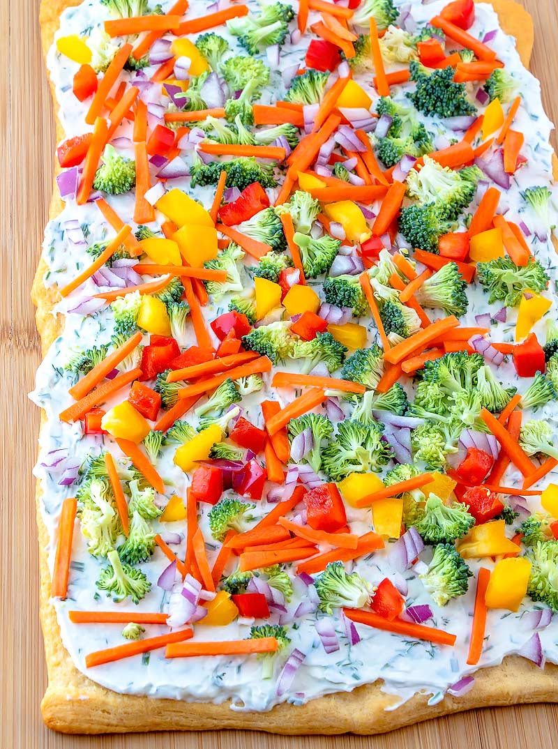Crescent Roll Veggie Pizza with ranch dressing and lots of fresh vegetables.