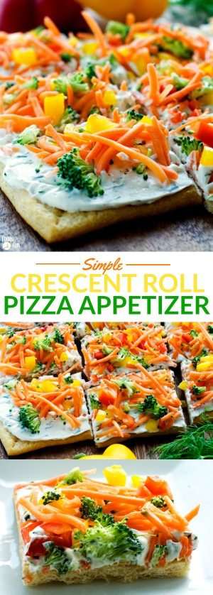 This Simple Crescent Roll Pizza Appetizer recipe is easy to make and always a hit at parties! You can even serve this veggie pizza recipe for dinner!