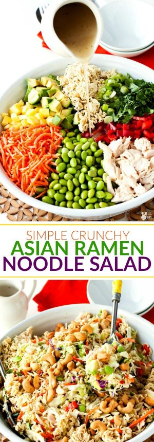 This recipe for Simple Crunchy Asian Ramen Noodle Salad is a simpler, healthier, fully-loaded version of the classic Ramen Salad. It takes just 20 minutes to make and it feeds a crowd making it perfect for potlucks!