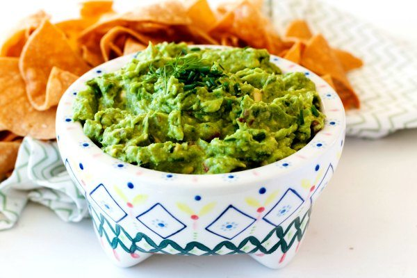 Garden Vegetable Guacamole in a bowl for dipping
