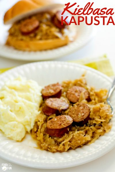 Close up of Kielbasa Kapusta with mashed potatoes on the side