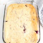 The finished Texas-style blueberry cobbler in a 9 inch by 13 inch pan.