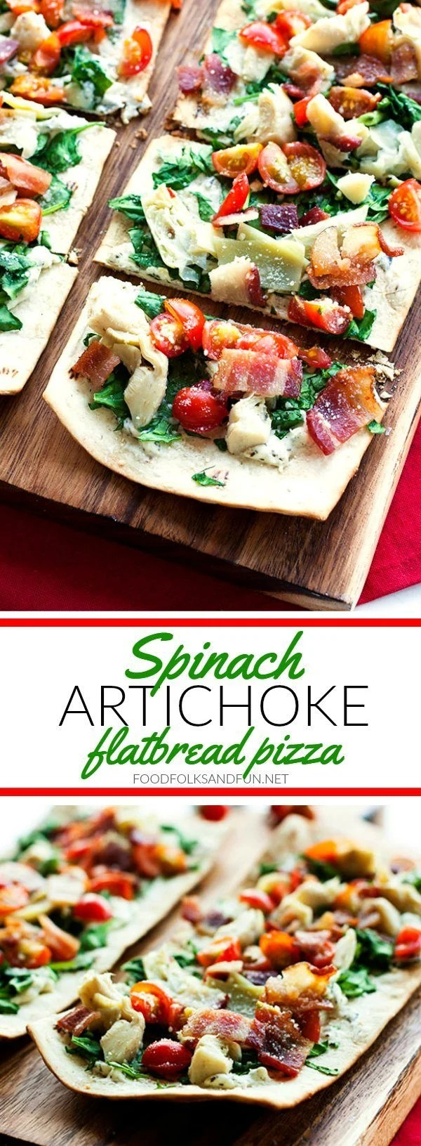 A collage of Spinach Artichoke flatbread pizza with text overlay for Pinterest