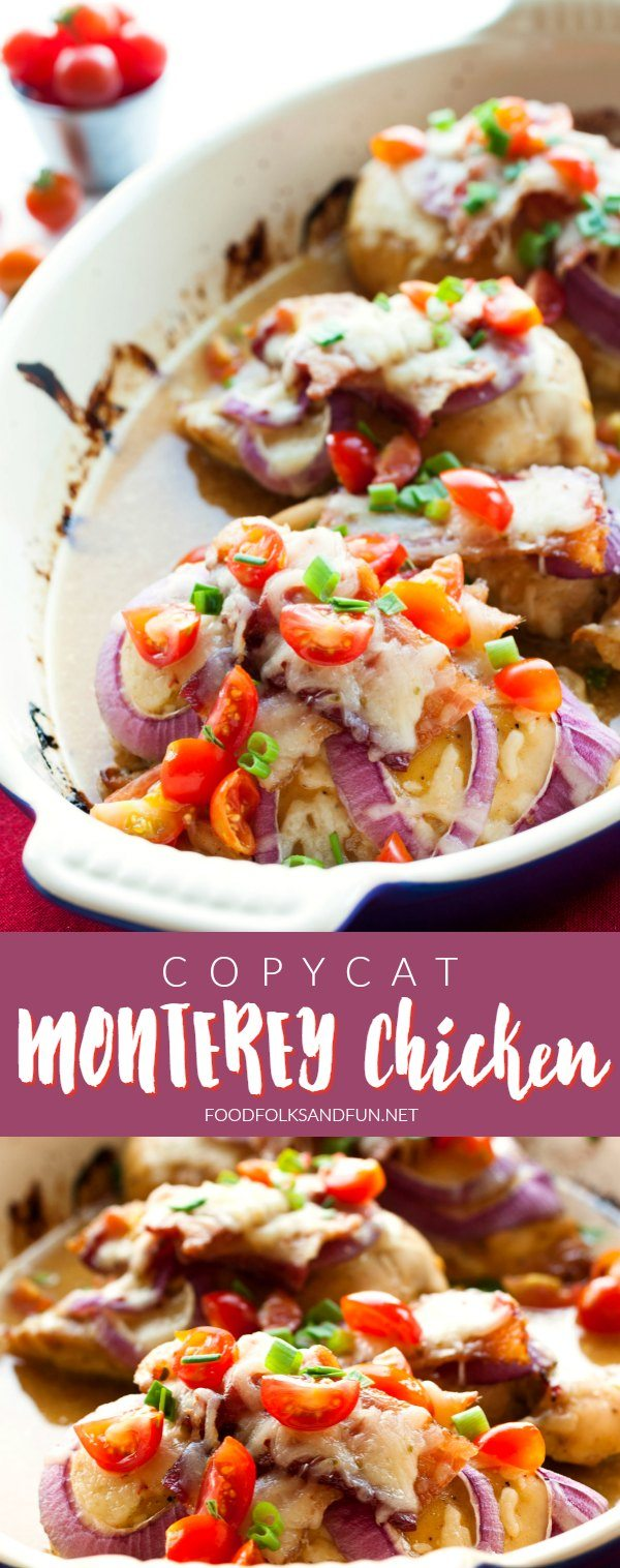 Make this easy and crave-worthy restaurant favorite at home! This Copycat Monterey Chicken recipe is the perfect combination of honey-mustard chicken breasts, bacon, and melted ooey-gooey Monterey Jack cheese.