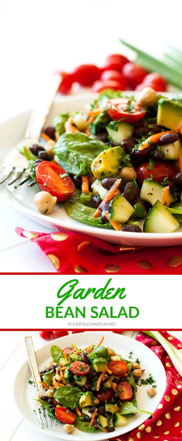 This Garden Bean Salad is perfect as a barbecue side dish, lunch, or even hearty enough for dinner! Plus it's easy to make and easy on the budget! via @foodfolksandfun
