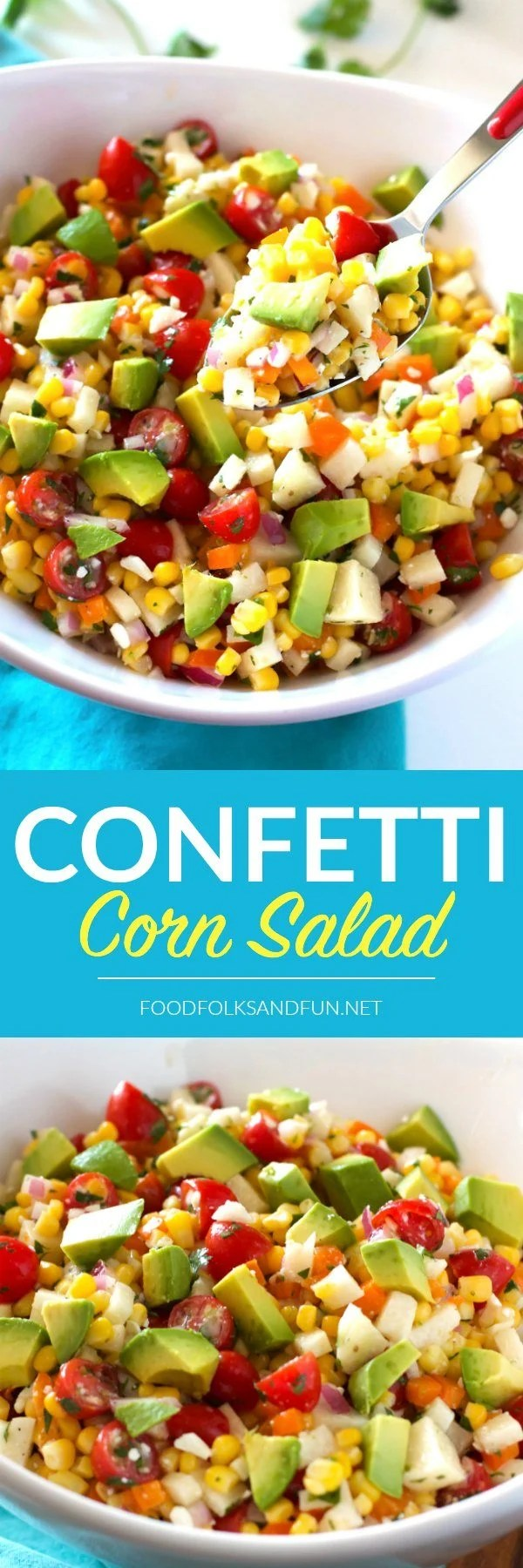 This Confetti Corn Salad is a refreshing, light side dish that's perfect for summer dinners, potlucks, parties, and more! via @foodfolksandfun