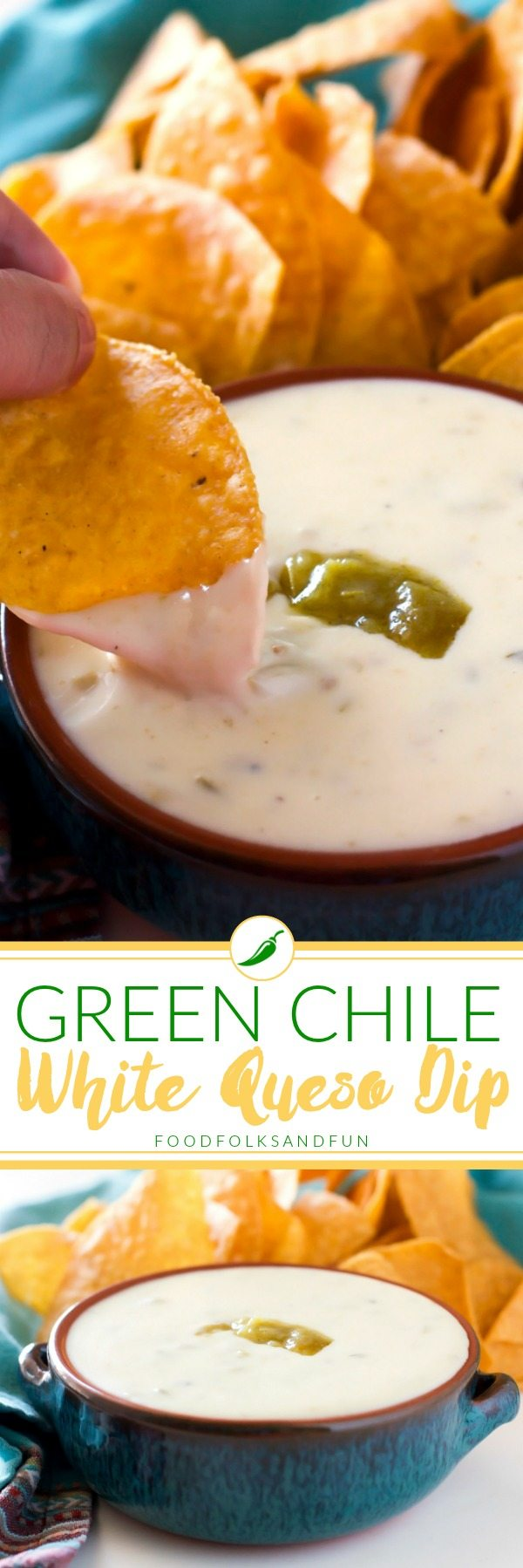 A picture collage of green chip white queso dip.