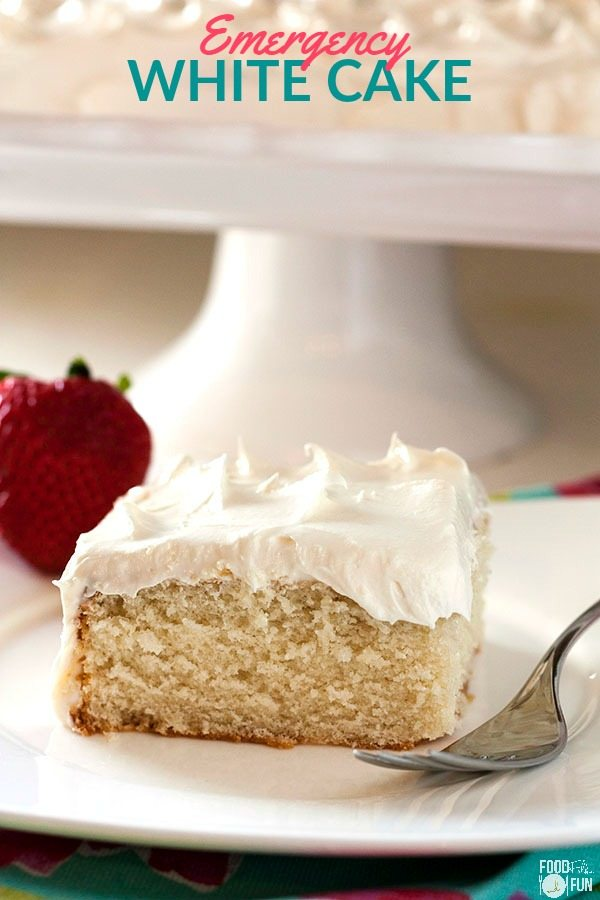 A piece of White Cake on a plate with text overlay for Pinterest