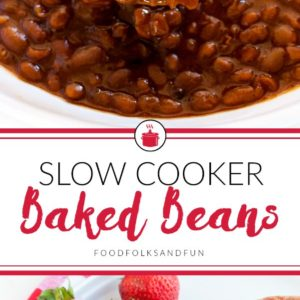 The finished slow cooker baked beans with text overlay for Pinterest