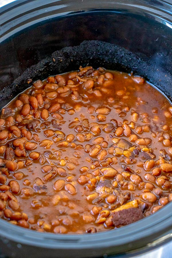 Finished slow cooker Boston Baked Beans.