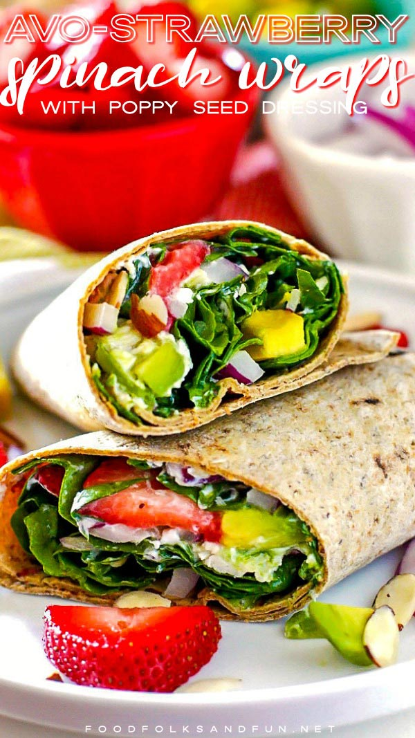Picture of spinach wraps stacked on top of each other for Pinterest.