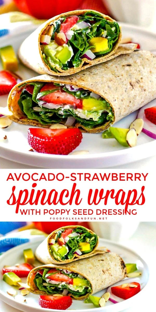 These easy Strawberry Spinach Wraps are loaded with veggies, chicken, almonds, goat cheese, strawberries, and zesty poppy seed dressing. via @foodfolksandfun