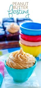 Peanut butter buttercream piped into a bowl and on brownies.
