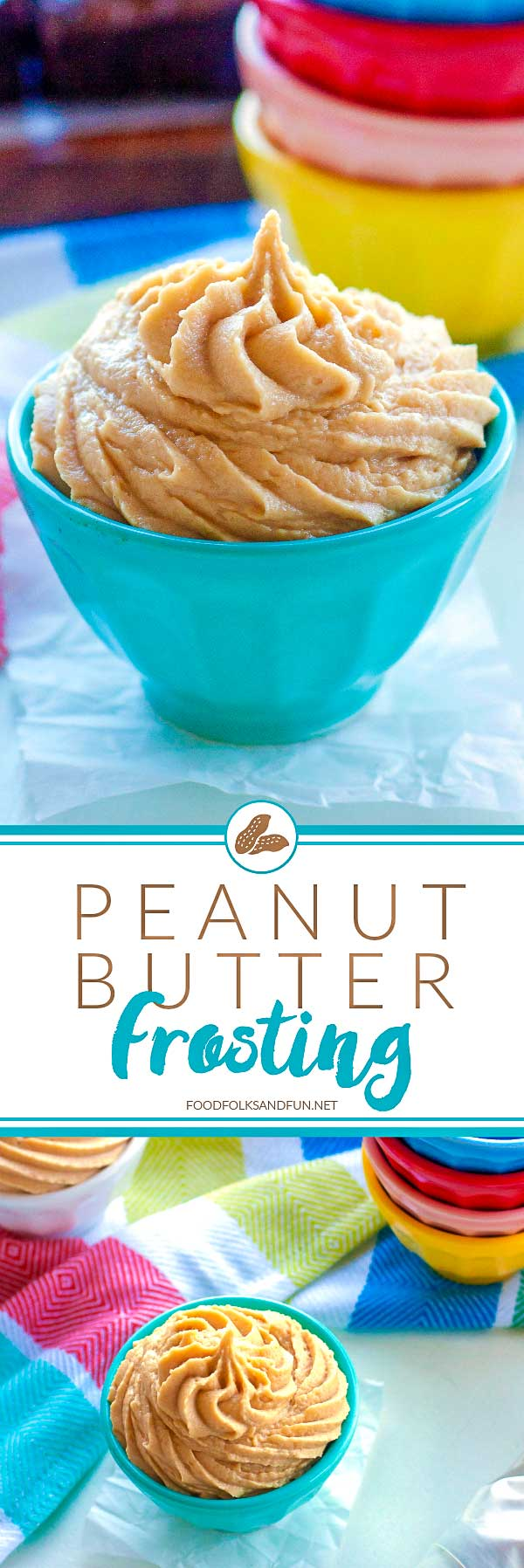 Peanut butter frosting piped into bowls.