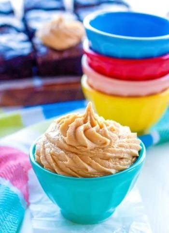 Peanut Butter Buttercream in a bowl.