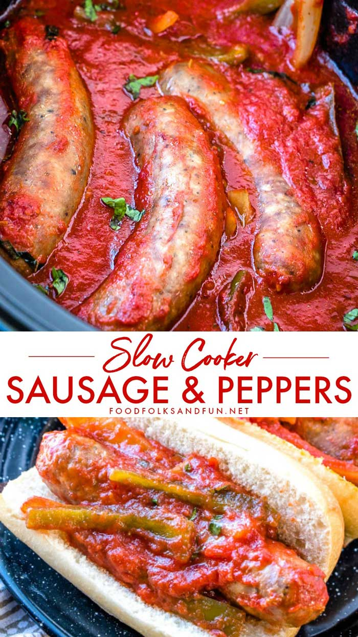 Sausage and Peppers is a classic Italian-American comfort food dish. I've added my own spin on it by cooking it in the slow cooker! In this post, you'll also find make ahead and freezer meal directions! via @foodfolksandfun