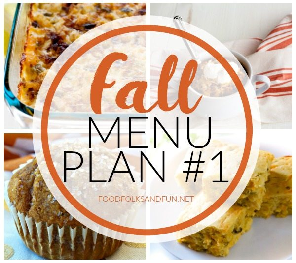This Fall Menu Plan #1 includes 6 dinners, 3 snacks and treats, and 2 breakfast ideas that are all perfect for Fall!