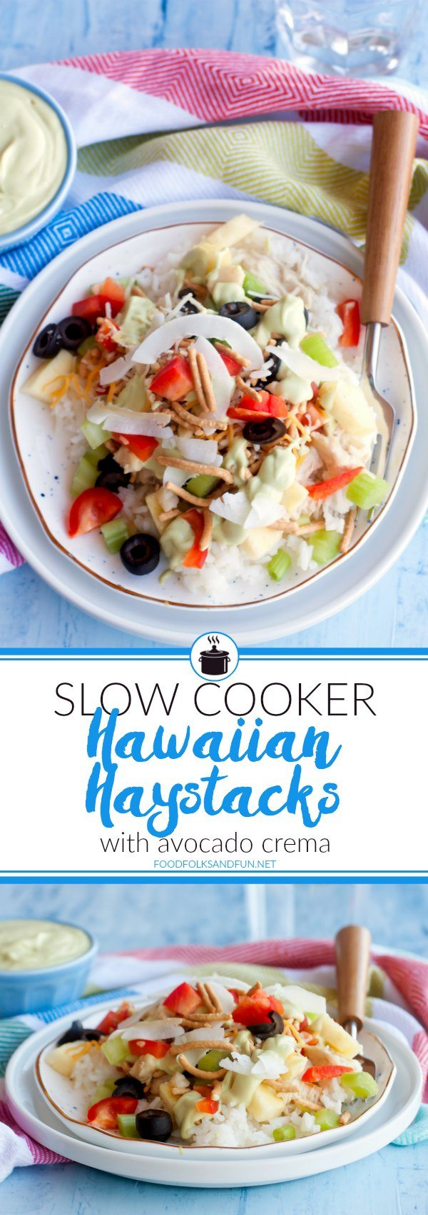 These easy Slow Cooker Hawaiian Haystacks with Avocado Crema are a family favorite for weeknight dinners. They're perfect for picky eaters because each haystack is completely customizable!