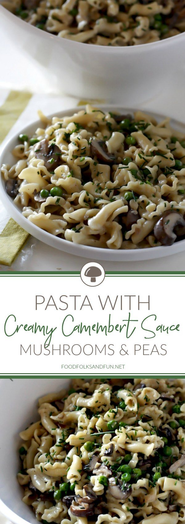 This Pasta with Mushrooms, Peas and Creamy Camembert Sauce recipe is a great meatless weeknight dinner that's rich and hearty tasting. The mushrooms give it a meaty flavor that is completely satisfying. via @foodfolksandfun