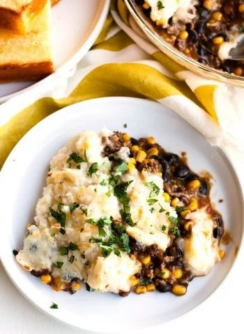 Shepherd's Pie on a plate with a southwest twist