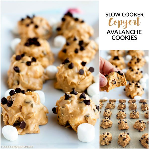 The famous Rocky Mountain Chocolate Factory confection turned into an easy, slow cooker no-bake cookie for the holidays! These Copycat Avalanche Cookies are so decedent!
