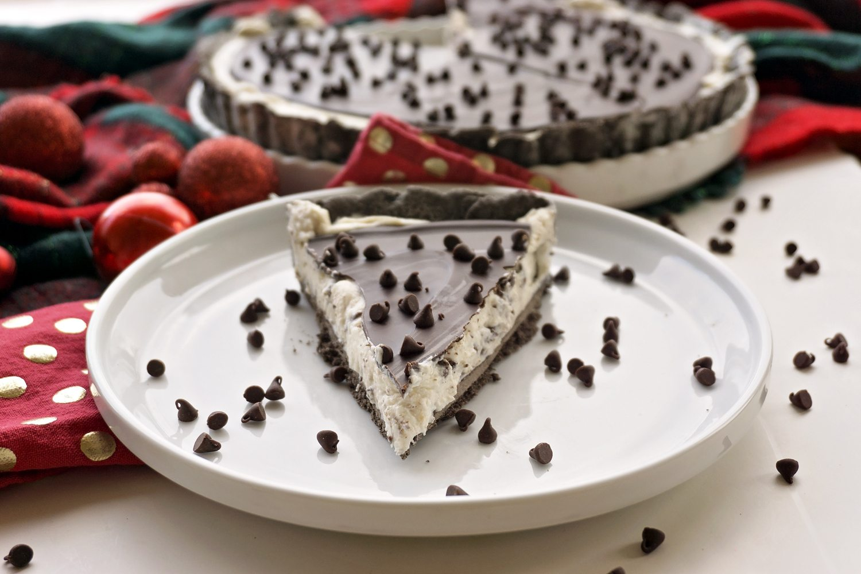 Chocolate Cannoli Tart on a plate
