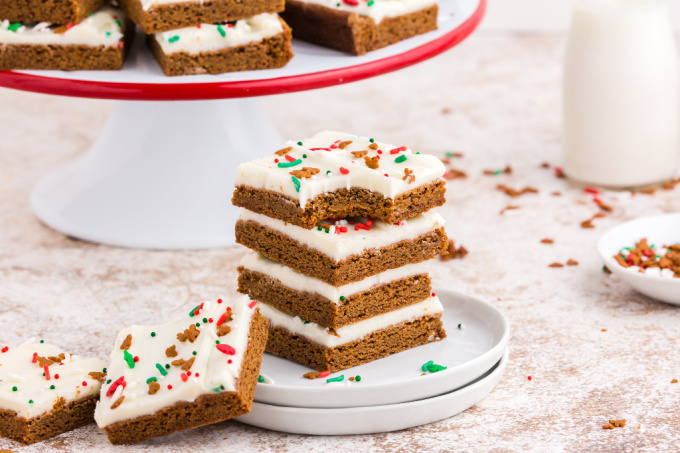 Gingerbread bars stacked on top of each other.
