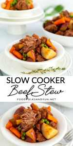 Picture collage of beef stew for Pinterest.