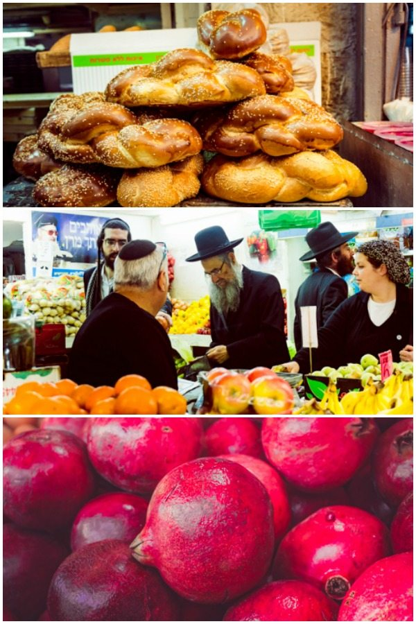 A picture collage of Mahane Yehuda Market.