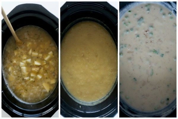 A collage of how to make Slow Cooker Baked Potato Soup