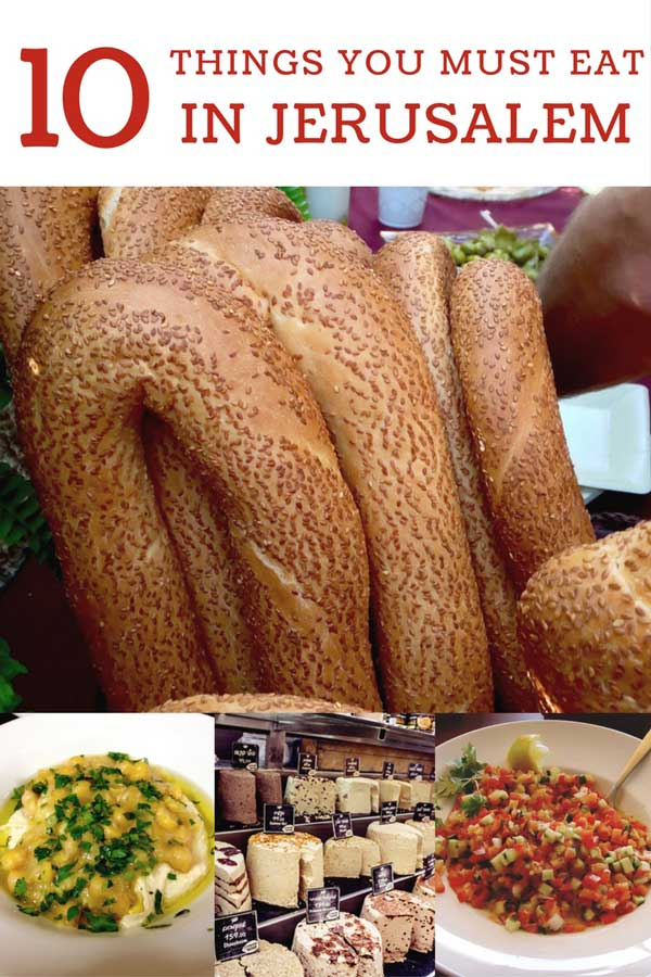 A collage of various food items you must eat in Jerusalem