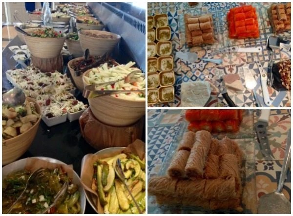 A collage of breakfast at Inbal Hotel
