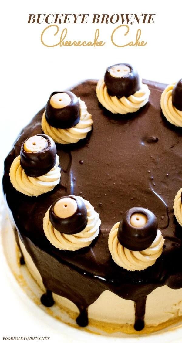The top view of Epic Buckeye Brownie Cheesecake Cake