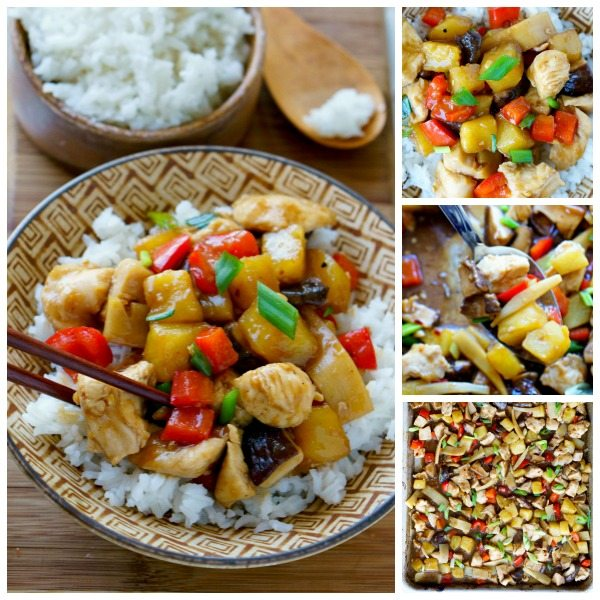 Picture collage of chicken teriyaki for Facebook.