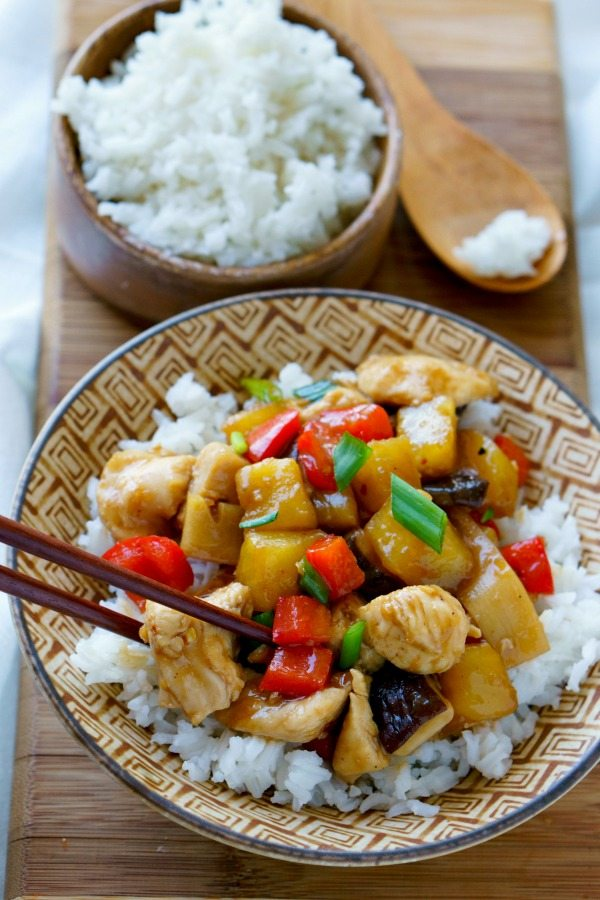 Chicken teriyaki served over white rice.