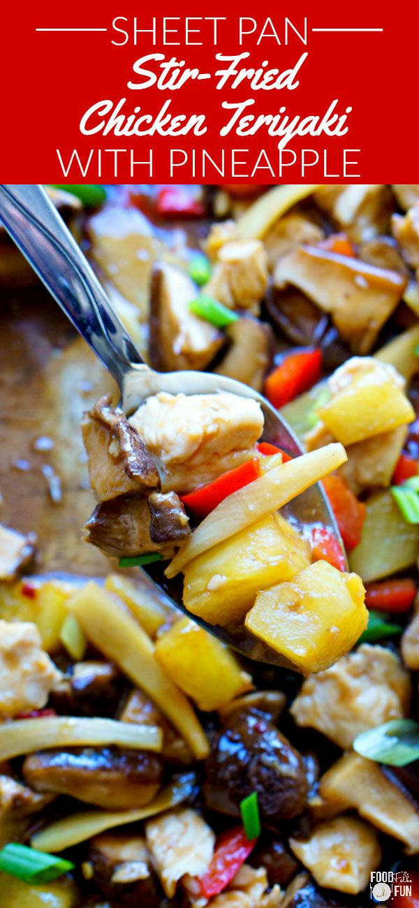 A serving spoon lifting up some of the sheet pan chicken teriyaki.