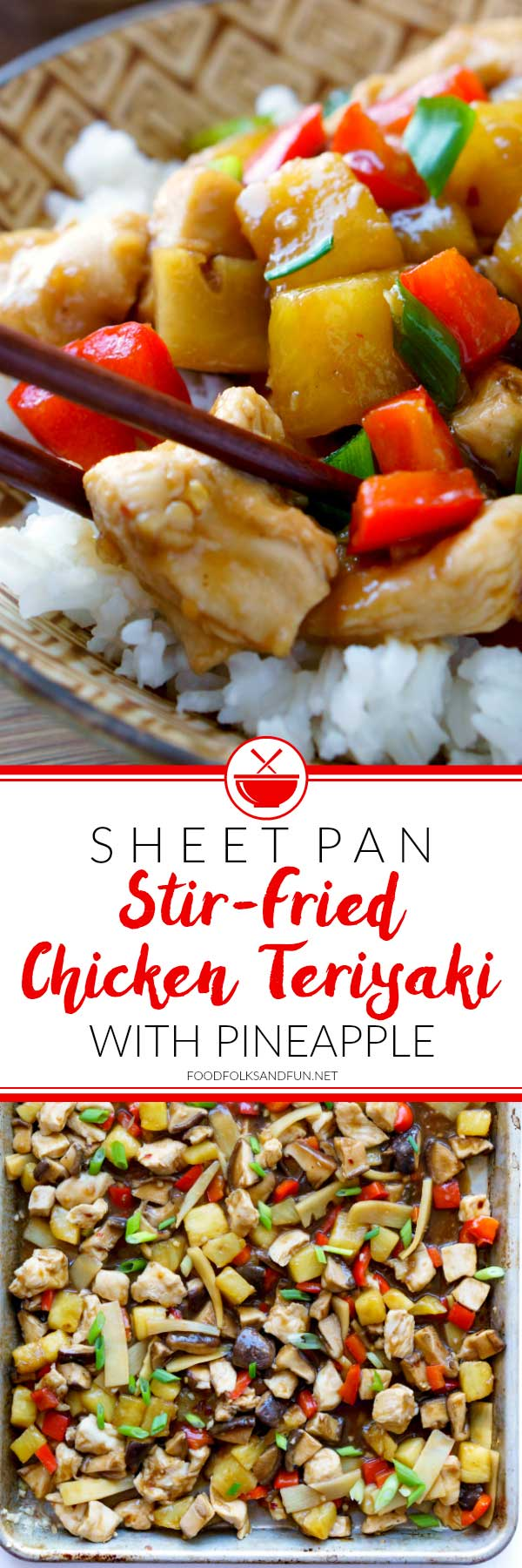 Picture collage of chicken teriyaki for Pinterest.