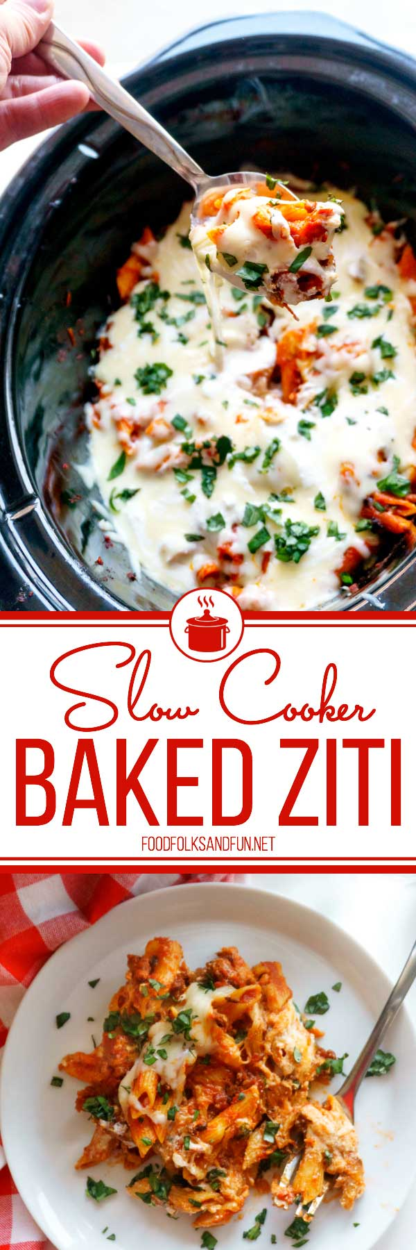 This Slow Cooker Baked Ziti recipe is the perfect dinner recipe for year-round cooking. It's great for weeknight dinners and for company! Plus, it tastes pretty amazing--I mean just look at all of that melty cheese!