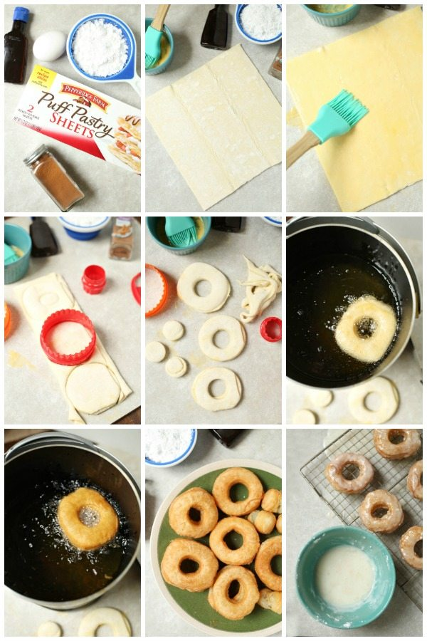 Picture collage of How to make Puff Pastry Cronuts