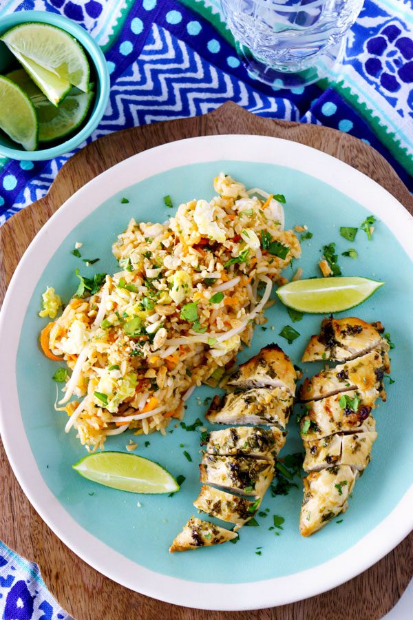 Cilantro Thai Chicken with Pad Thai Fried Rice - both exclusive recipes from Food, Folks and Fun!