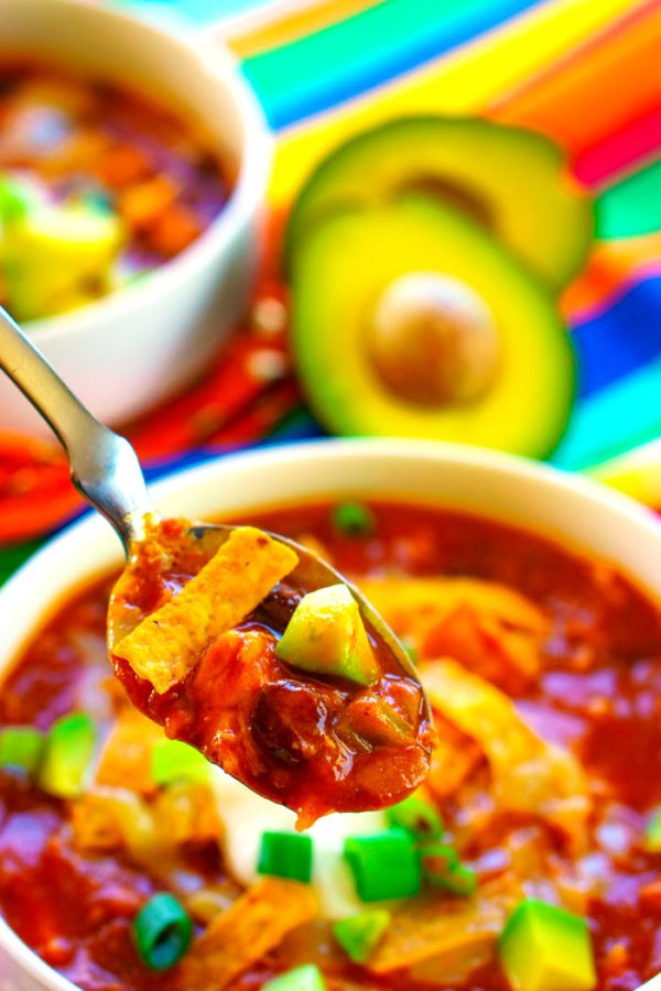 A spoonful of taco soup.