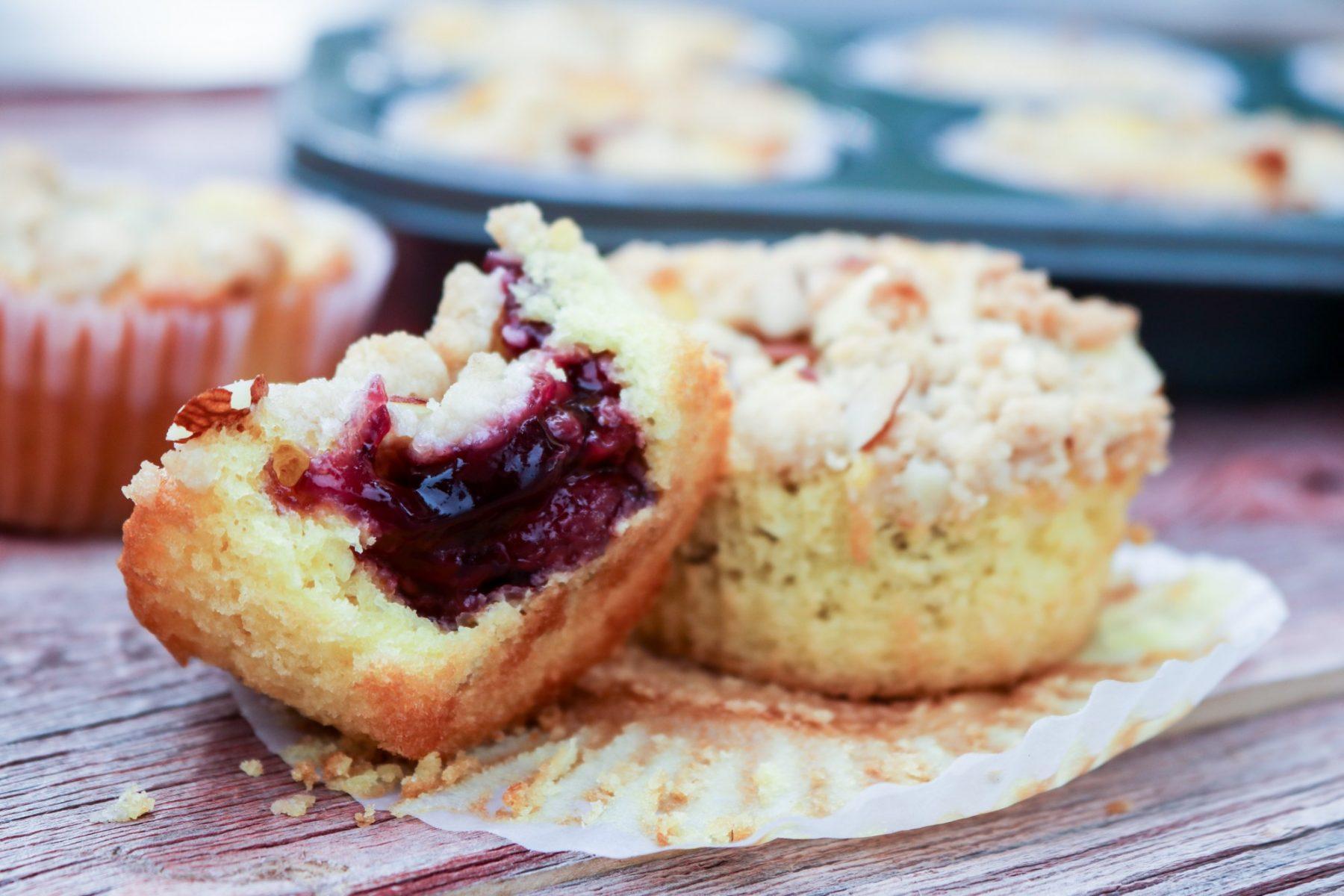 A close-up of Lemon Raspberry Cobbler Cupcakes